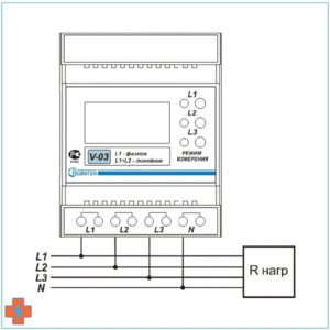 Схема подключения V-03. Трехфазная сеть